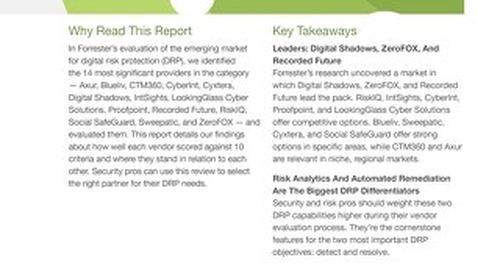 Digital Risk Protection: Forrester New Wave Report
