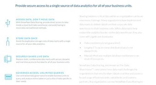Snowflake Data Sharing: Eliminate Your Data Silos, Data Marts and Data Movement