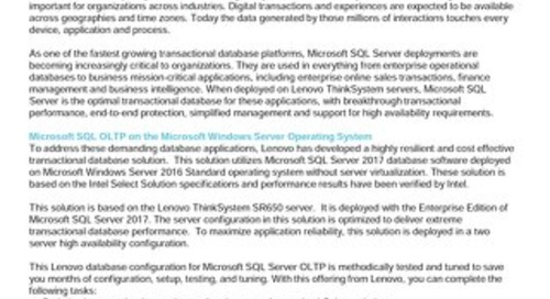 Lenovo Database Configuration for Microsoft SQL Server OLTP – SR650