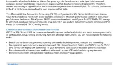 Lenovo Database Configuration for Microsoft SQL Server Standard OLTP on SR650