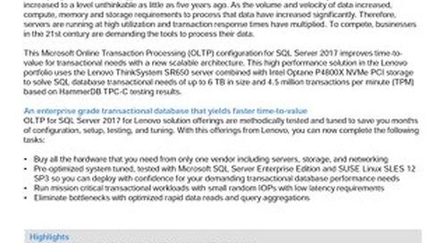 Lenovo Database Configuration for Microsoft SQL Server Enterprise OLTP on SR650