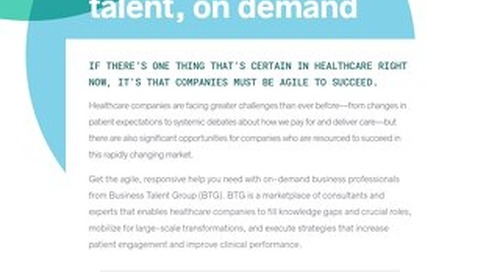 Business Talent Group Key Strengths: Healthcare