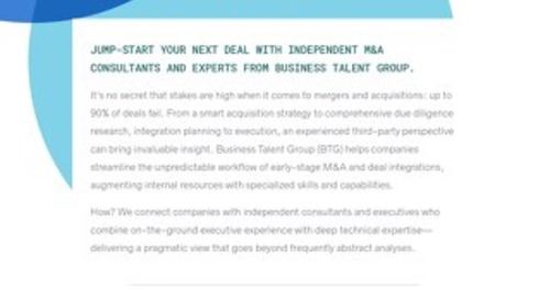 Business Talent Group Key Strengths: Mergers and Acquisitions