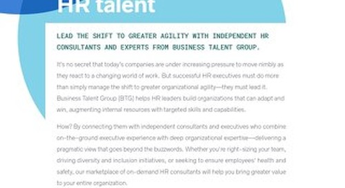 Business Talent Group Key Strengths: HR