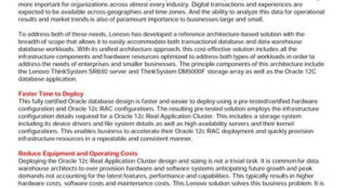 Lenovo Database Validated Design for Oracle 12c on SR650