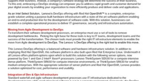 Lenovo DevOps Validated Design for Red Hat OpenShift on RHEL