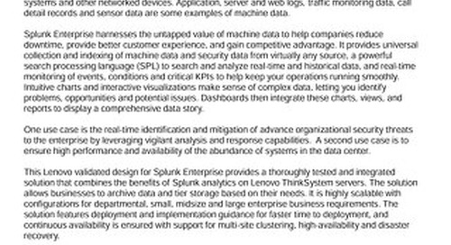 Lenovo Big Data Validated Design for Splunk Enterprise