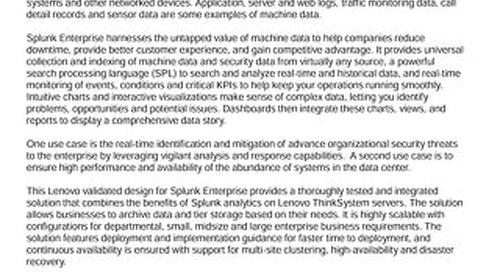 Lenovo Big Data Validated Design for Splunk Enterprise
