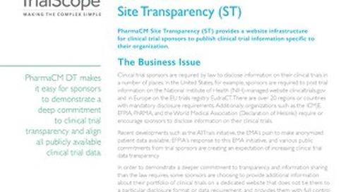 TrialScope PharmaCM Site Transparency (ST)