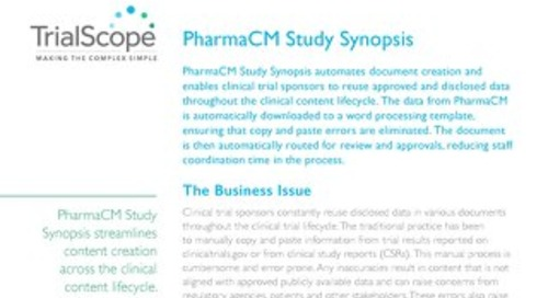 TrialScope PharmaCM Study Synopsis