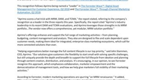 "Independent Research Firm Recognizes Aprimo as a ""Leader"" in Marketing Resource Management (MRM)"