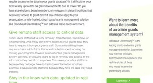 Giving Stakeholders Remote Access to Grants Data