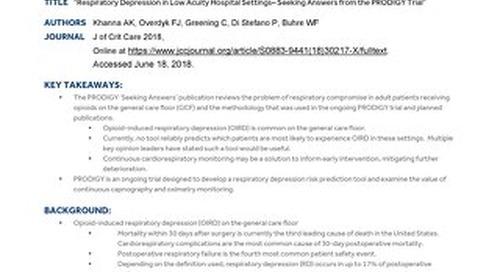 CSM Khanna Seeking Answers from PRODIGY Clinical Summary