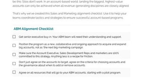 ABM Alignment Checklist     Engagio