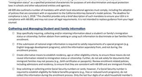 AB 699 Mandates Support for Immigrant Families