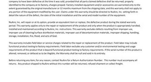 [Warranty] Class II, Type B2 Biosafety Cabinet (US & CA)