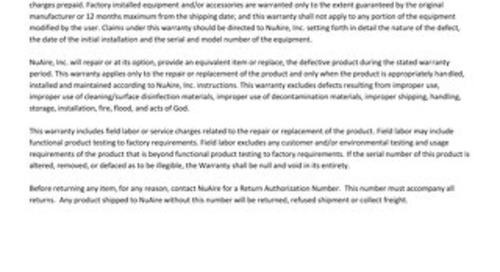 [Warranty] Class II, Type A2 Biosafety Cabinet (US & CA)