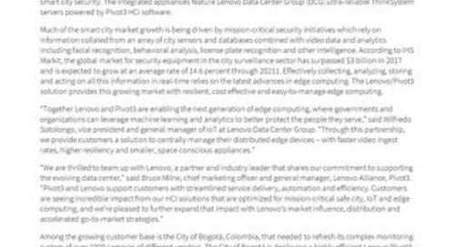 [Press Release] Pivot3 Lenovo Smart Cities Announcement