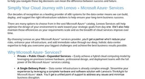 Microsoft Azure Service Solutions from Lenovo