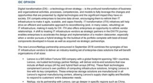 IDC - Strategic Vendor Partnerships Provide Unprecedented Value to Enterprises
