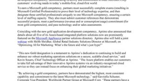 Aprimo Achieves a Microsoft Gold Application Development Competency