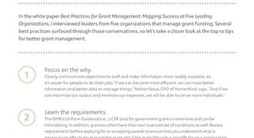Tip Sheet: Top 10 Tips for Better Grant Management