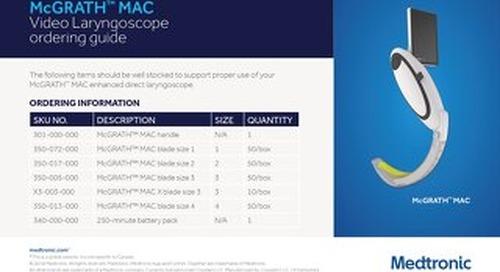 McGrath® MAC Video Laryngoscope ordering guide