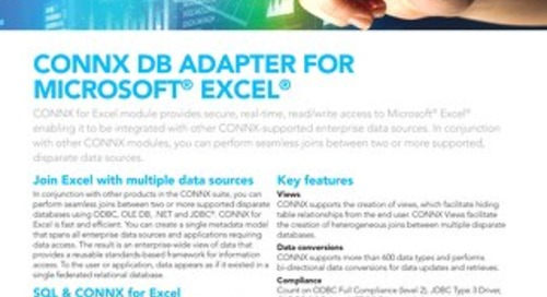 CONNX DB Adapter for Microsoft®  Excel®