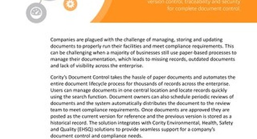 Product Sheet - Document Control