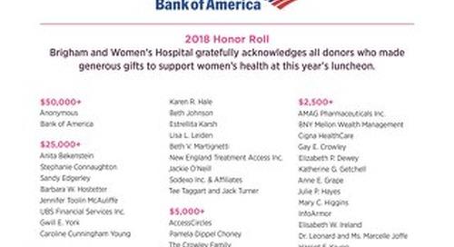 2018 Women's Health Luncheon Honor Roll