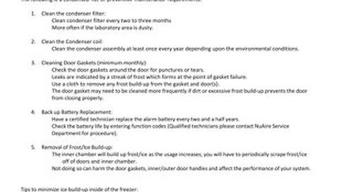 [Service Bulletin] Ultralow Freezer Preventative Maintenance