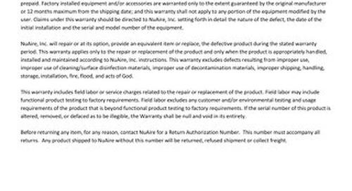 [Warranty] Laminar Flow Workstation (US & CA)