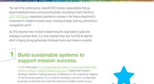 Top Five Tips for the Mission-Infused Nonprofit CFO