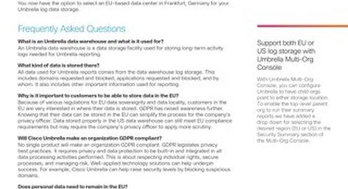 Cisco Umbrella European Union (EU) Log Storage Data Center