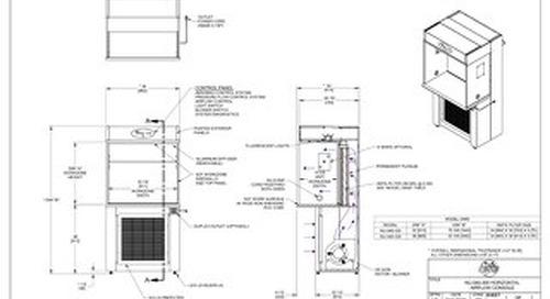 [Drawing] AireGard NU-340-330, NU-340-336 Laminar Airflow Workstation with Leg Levelers