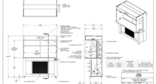 [Drawing] AireGard NU-340-530, NU-340-536 Laminar Airflow Workstation with Leg Levelers