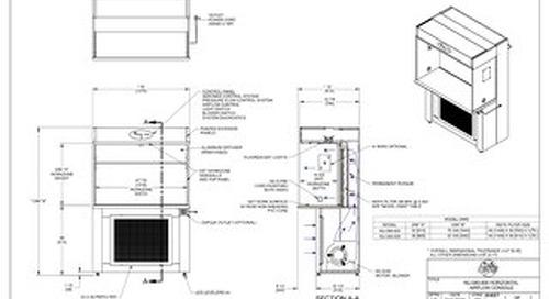 [Drawing] AireGard NU-340-430, NU-340-436 Laminar Airflow Workstation with Leg Levelers