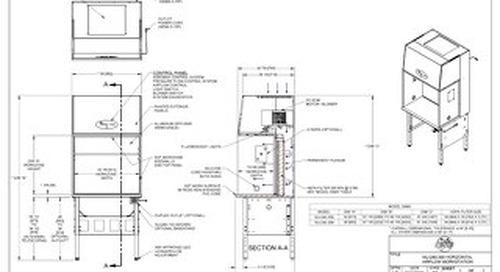 [Drawing] AireGard NU-240-330, NU-240-336 Horizontal Laminar Airflow Workstation