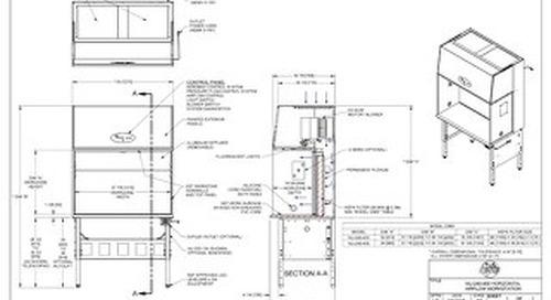 [Drawing] AireGard NU-240-430, NU-240-436 Horizontal Laminar Airflow Workstation