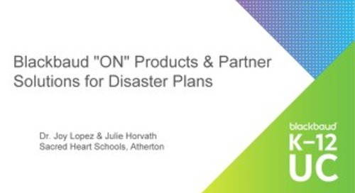 Blackbaud ON Products and Partner Solutions for Disaster Plans