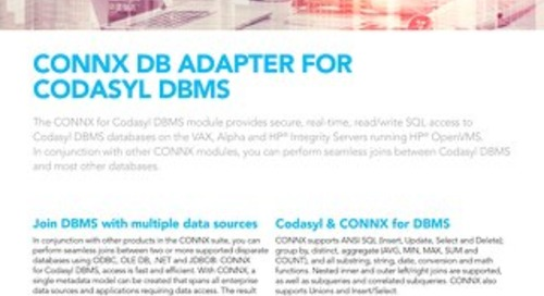 CONNX DB Adapter for Codasyl DBMS