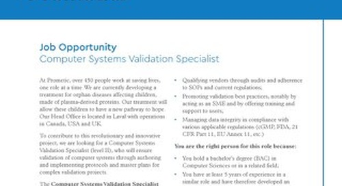 Laval, CA - Computer Systems Validation Specialist
