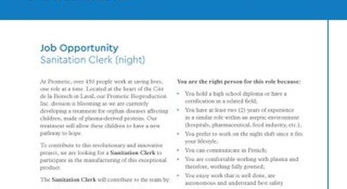 Laval, CA - Sanitation Clerk (night)