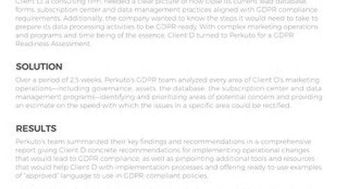 Consulting Firm Gets Clear Pic of GDPR Readiness in 18 Days