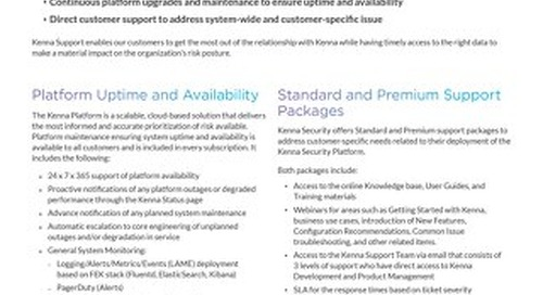 Kenna Support Datasheet