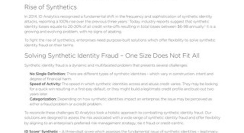 Combatting Synthetic Identities