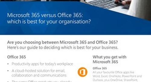 Microsoft 365 vs Office 365 Flyer 2018