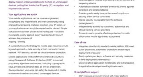 Datasheet: Cloakware® Software Protection for Mobile Apps