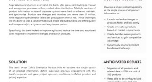Tier-1 Canadian bank Enterprise Product Hub