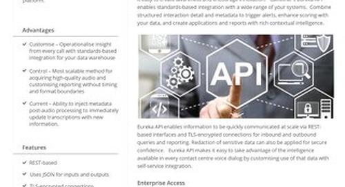 Eureka API Datasheet UK